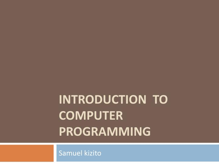 introduction to computer programming n.