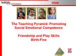 The Teaching Pyramid: Promoting Social Emotional Competence Friendship and Play Skills Birth-Five