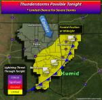 Peak Threat: 3pm-Midnight Potential: Isolated tornadoes Wind gusts: to 75 mph