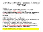 Exam Paper: Reading Passages (Extended) PART ONE
