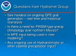 Questions from Hydromet Group: