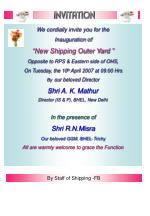 """We cordially invite you for the Inauguration of """"New Shipping Outer Yard """""""