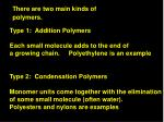 There are two main kinds of polymers.