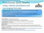 Functional Skills Maths Using  reverse calculations and rearranging formulae