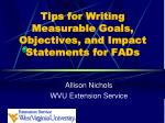 Tips for Writing Measurable Goals, Objectives, and Impact Statements for FADs