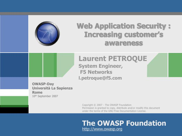 web application security increasing customer s awareness n.