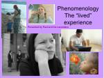 """Phenomenology The """"lived"""" experience"""
