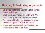 Reading & Evaluating Arguments