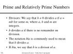 Prime and Relatively Prime Numbers