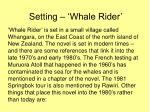 Setting – 'Whale Rider'