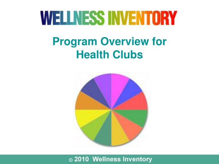program overview for health clubs n.