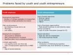 Problems faced by youth and youth entrepreneurs