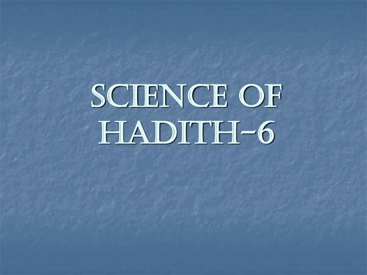 science of hadith 6 n.