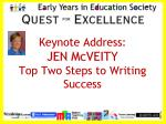 Keynote Address: JEN McVEITY Top Two Steps to Writing Success