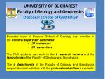 UNIVERSITY OF BUCHAREST Faculty of Geology and Geophysics Doctoral school of GEOLOGY