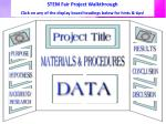 STEM Fair Project Walkthrough Click on any of the display board headings below for hints & tips!