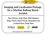Imaging and Localisation Package for a Martian Balloon Based Aerobot