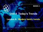 Unit 4  Today's Trends Lesson A:   Modern family trends