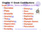 Chapter 11 Greek Contributions Target Words, Terms and People to Know