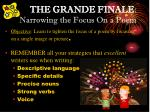 THE GRANDE FINALE : Narrowing the Focus On a Poem