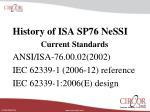 History of ISA SP76 NeSSI Current Standards ANSI/ISA-76.00.02(2002)