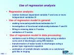 Use of regression analysis