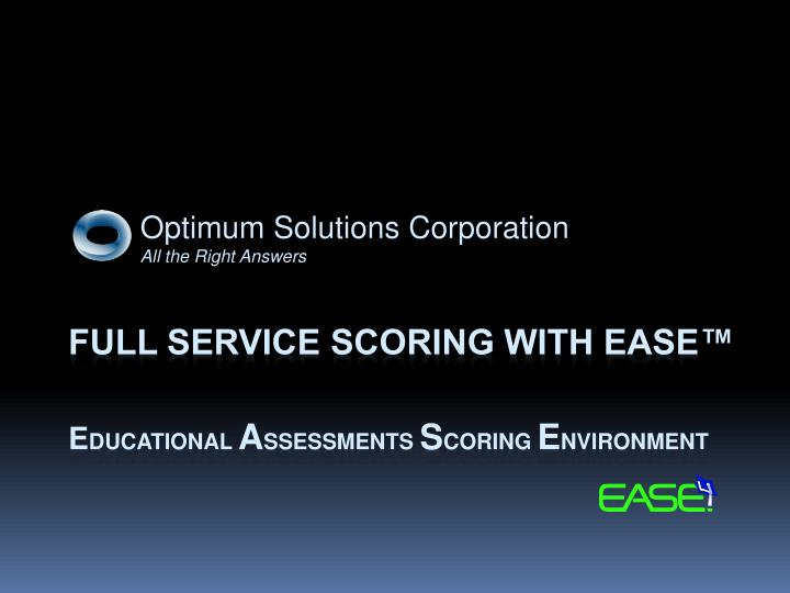 optimum solutions corporation all the right answers n.
