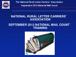 NATIONAL RURAL LETTER CARRIERS '  ASSOCIATION SEPTEMBER 2012 NATIONAL MAIL COUNT TRAINING