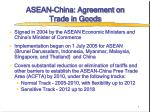 ASEAN-China: Agreement on  Trade in Goods