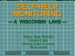 SELF-HELP MONITORING — A WISCONSIN LAKE —