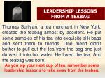 LEADERSHIP LESSONS FROM A TEABAG