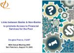 Links between Banks & Non-Banks to promote Access to Financial Services for the Poor