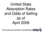 United State Absorption Rates and Odds of Selling as of April 2009