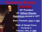 Rutherford B Hayes 1876-1881