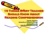 10 Things Every Teacher Should Know About Reading Comprehension