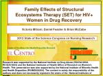 Family Effects of Structural Ecosystems Therapy (SET) for HIV+ Women in Drug Recovery