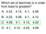 Which set of decimals is in order from least to greatest?