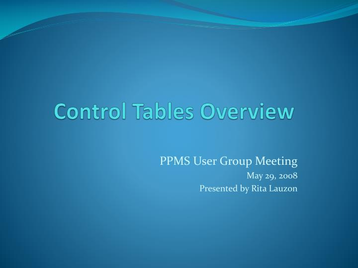 control tables overview n.