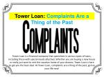 Tower Loan: Complaints Are a Thing of the Past