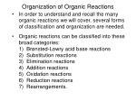 Organization of Organic Reactions
