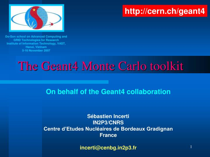 the geant4 monte carlo toolkit n.