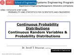 Continuous Probability Distributions Continuous Random Variables & Probability Distributions