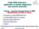 Triple GEM detectors : application on plasma diagnostics and neutron detection.