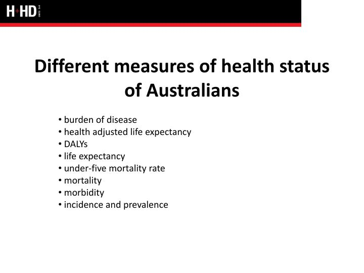 different measures of health status of australians n.