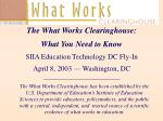 The What Works Clearinghouse: What You Need to Know SIIA Education Technology DC Fly-In