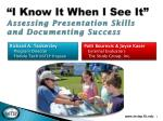 """I Know It When I See It"" Assessing Presentation Skills  and Documenting Success"