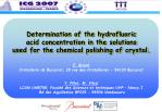 Determination of the hydrofluoric acid concentration in the solutions