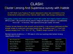CLASH: C luster L ensing A nd S upernova survey with H ubble