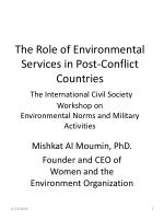 Mishkat Al Moumin, PhD. Founder and CEO of Women and the Environment Organization