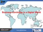 Business Continuity In a Digital World
